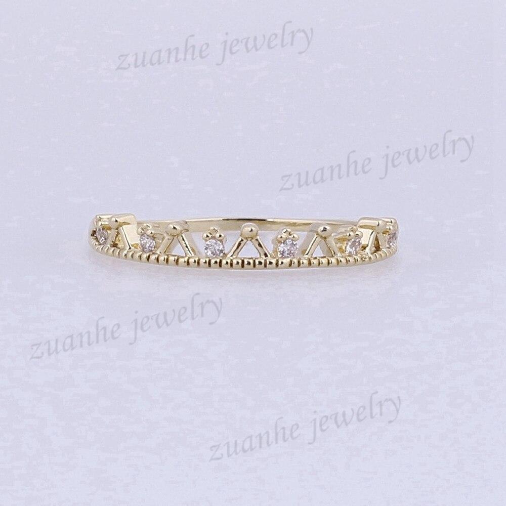SOLID 14 К желтого золота Юбилей обручальное Природный diamondd короны Симпатичные Обручение кольцо