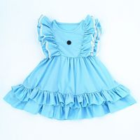 2018 Latest Princess Sweet Baby Girl Party Dress Children Frocks Designs Solid Flutter Sleeve Kids Clothes
