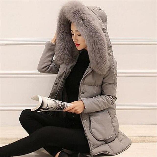 M-3XL 2016 New Korea Faux Fox Fur Collar Hooded Pu Knitting Patchwork Down Cotton Jacket Women Winter Long Slim Coat Parka ZS703