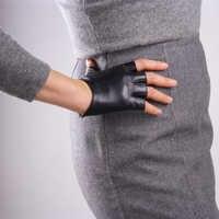 Spring Women's Genuine Leather Gloves Female Driving Unlined Goatskin Half Finger Gloves Fingerless Gym Fitness Gloves TB12