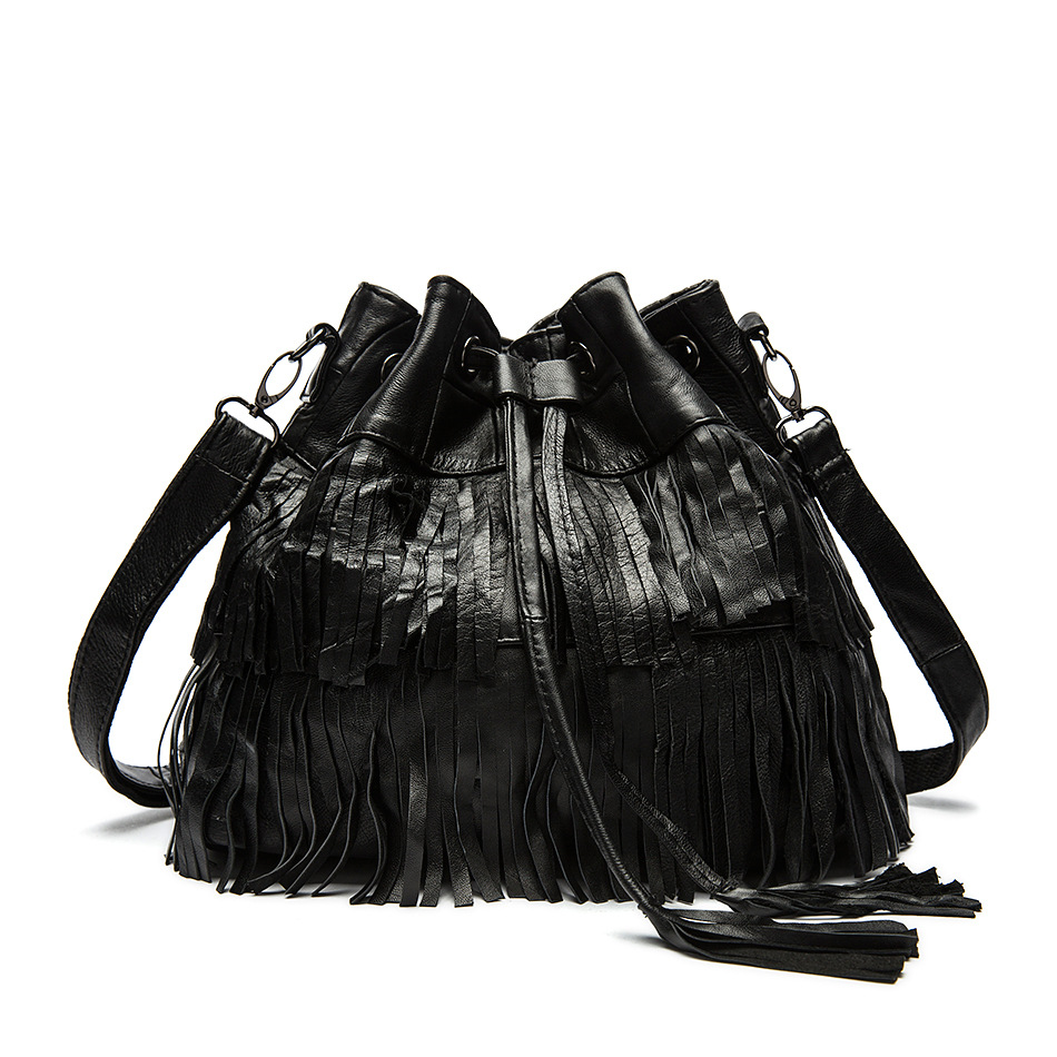 ФОТО Luxury Handbags Women Black Bags Designer Leather Sheepskin Bucket Tote Tassel Fringed Genuine Shoulder & Crossbody Soft Handbag