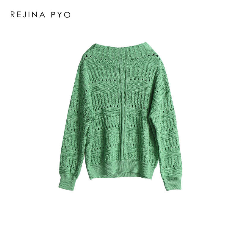 8b6403a5bc6821 REJINAPYO Women Fashion All match Solid Crochet Oversize Knitted Sweater O  neck Female Casual Everyday Loose Pullovers-in Pullovers from Women s  Clothing on ...