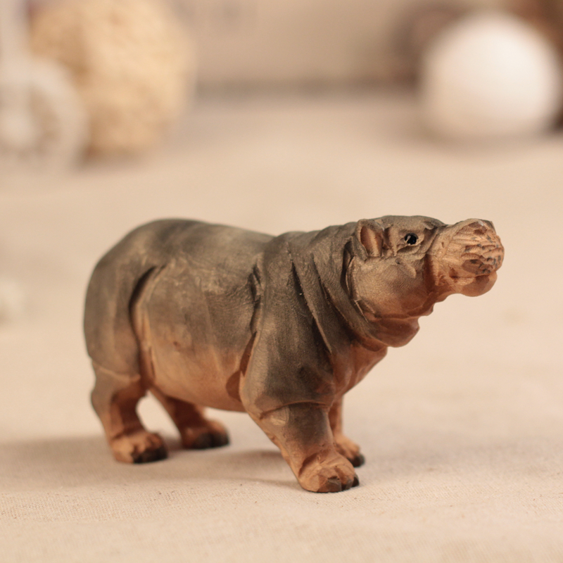 Wood sculpture handmade hippo decoration animal feng shui for Objet decoration hippopotame
