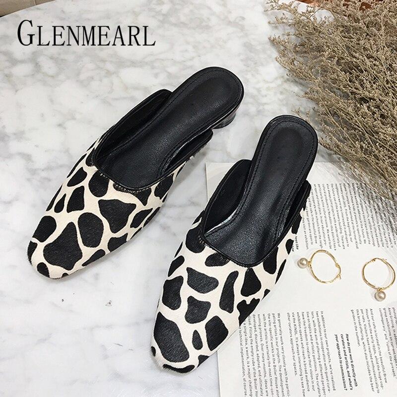 Women Slippers Mules Shoes Summer Fashion Leopard Fur Slippers Medium Heels Round Toe Brand Woman Sandals Slip On Outdoor Slides