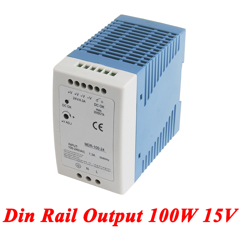 MDR-100 Din Rail Power Supply 100W 15V 6.6A,Switching Power Supply AC 110v/220v Transformer To DC 15v,ac dc converter mdr 100 din rail power supply 100w 48v 2a switching power supply ac 110v 220v transformer to dc 48v ac dc converter