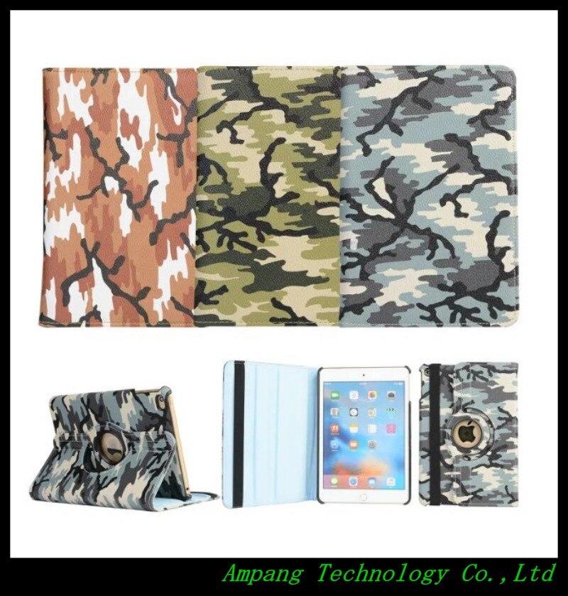 Fashion Camouflage Case for iPad mini 4 360 Rotate Cover for iPad mini 4 Case PU Leather Stand Flip Cover for iPad Cases 7.9