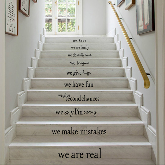 Creative House Rules English Maxim Wall Sticker Stairs Kindergarten Bedroom  Home Decoration Kids Living Room Children Room