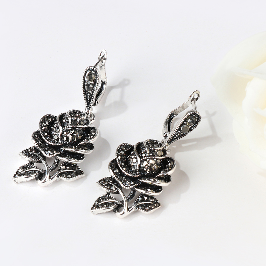 Kinel 4pc Vintage Silver Black Crystal Rose Flower Jewelry Sets For Women