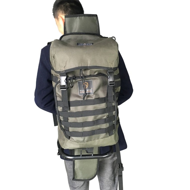 Tourbon Tactical Hunting Durable Chair Backpack Nylon with Detachable Shotgun Holster Holder Carrier Hiking Camping Travel Bag