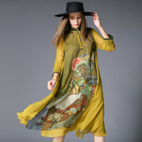 New Spring Vintage Dresses European Style High End Vintage Dress Long Sleeve China Air Express Print