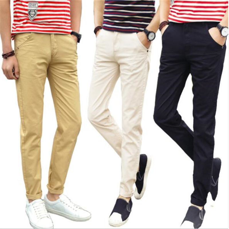 Men Pants Khaki Trousers Business Slim Straight Cotton Casual Fashion Solid Black Spring-Design