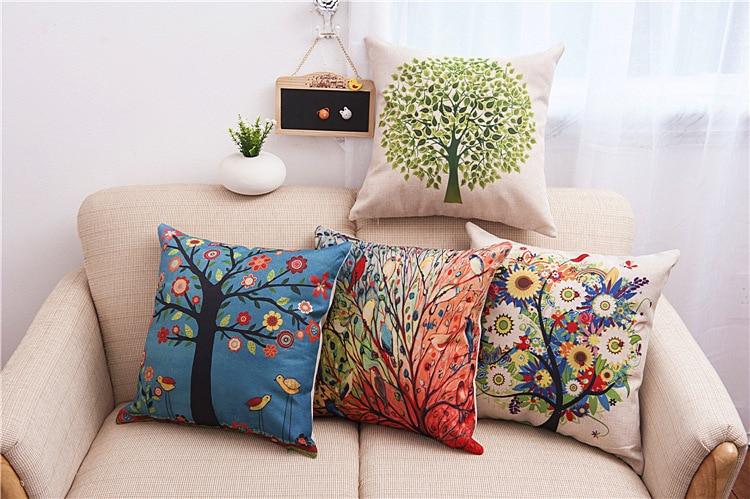 Tree priented Cotton Linen Sofa Cushion Pillow 45x45cm/17
