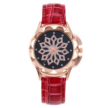 New Rhinestone Petal Time To Run Watch Without Digital Scale Female Belt Ladies Quartz