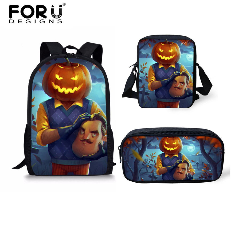 db39f40c77 FORUDESIGNS 3PCS Set Hello Neighbor Pumpkinhead Game Funny School Bags for  Teen Boys Girls Children s Backpack School Book Bag -in School Bags from  Luggage ...