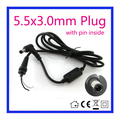 1.2m DC 5.5 x 3.0 5.5*3.0mm Power Supply Plug Connector With Cord / Cable For Samsung Laptop Adapter Free shipping