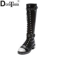 DoraTasia Brand Design Genuine Leather Large Size 34 43 Rivets Punk Martin Boots Printing Buckles Women