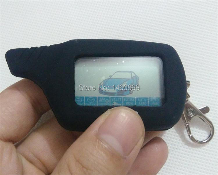 2-way LCD Remote Control Key Fob Chain Keychain with LOGO + Silicone Key Case for Russian Two Way Car Alarm System Starline B9