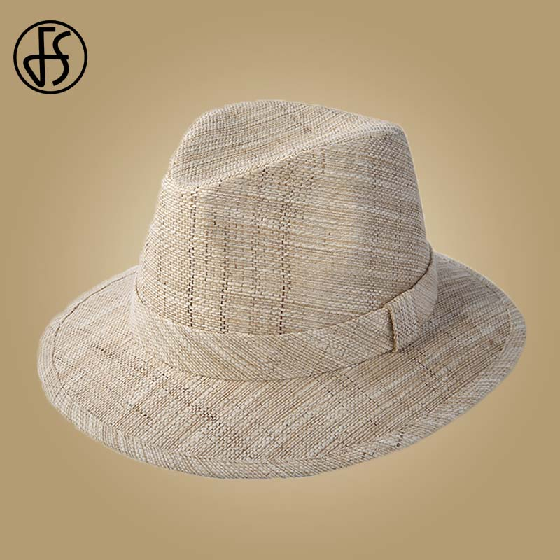 FS Wide Brim Sun Hat Men Summer Panama Straw Hats Jazz Bowler Male Trilby Fedoras With Ribbon Vintage Beach Caps Chapeau Homme in Men 39 s Sun Hats from Apparel Accessories