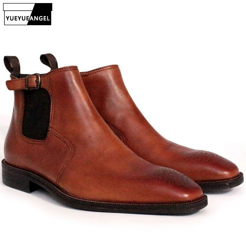 2019 Business Men Work Safety Shoes Wedding Dress Nature Leather Pointed Toe Male Ankle Boots Buckle Chelsea Winter Office Shoes2019 Business Men Work Safety Shoes Wedding Dress Nature Leather Pointed Toe Male Ankle Boots Buckle Chelsea Winter Office Shoes