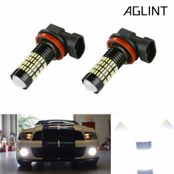 цена на AGLINT 2PCS H11 H8 H10 24W LED Car Fog Bulbs 9005 9006 5202 4014 SMD 102 Chips Daytime Running Light DRL White  6000K 12V-24V