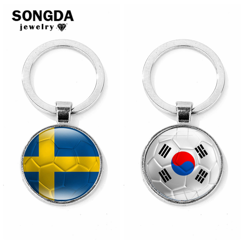 SONGDA Soccer Fans Souvenirs Sweden/Korea Flag Football Printing Glass Cabochon Keychain for Car Key Ring for High Quality Gifts