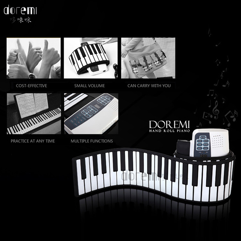 DoReMi 88 Keys Electronic Piano Folding Keyboards Music Organ Roll Up Pianos Electronique Portable Keyboard Instrument S-884 doremi intelligent professional hand rolled electronic piano 49 keys children silicone folding portable piano s2049