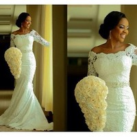 Hote sale Sheath Bateau 3/4 sleeve Floor length Watteau Alencon lace Bows waist Beaded wedding dresses 2017