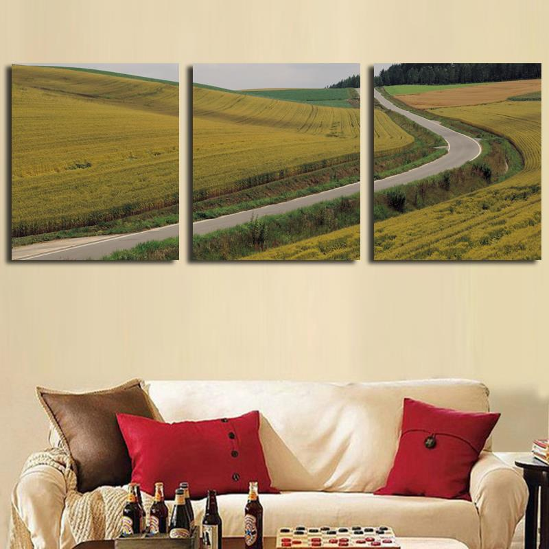 3PCS Unframed Gold Wheat Field Canvas Painting Cuadros Decoracion Realist Landscape Wall Painting Drawingroom Modern Home Decor