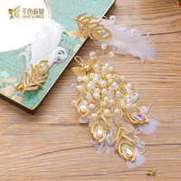 3pcs Trendy Hairgrips Feather Hair Clips Pearl Women Hairpins Girl Party Jewelry Bride Headpiece Wedding Accessory