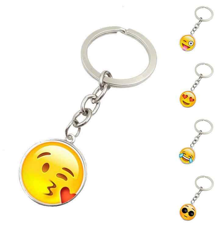 High Quality New Hot Fashion Emoji Smiley Face Time Precious Stones Pendant Metal Glass Keychain Jewelry for Women Men Girl Gift