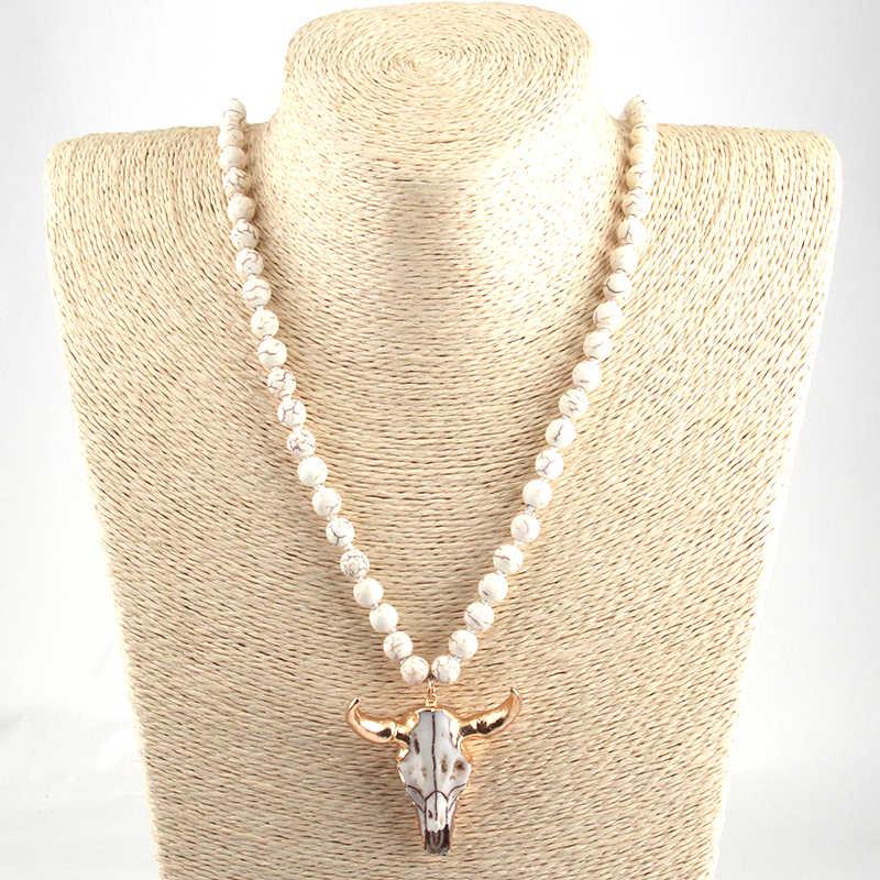 Moda czeski Tribal biżuteria biały kamień wiązane róg wisiorek naszyjniki dla kobiet etniczny naszyjnik