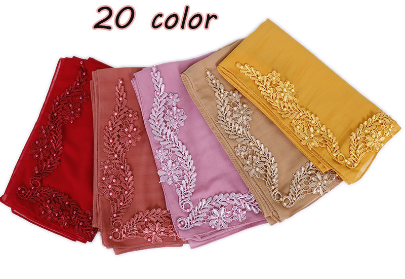 New arrival square scarf bubble chiffon hijab floral with beads shawl pearl scarves muslim hijab head