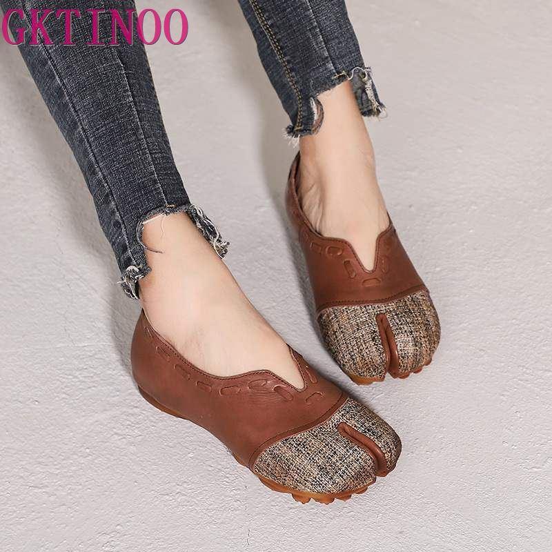 Ayakk.'ten Kadın Topuksuz Ayakkabı'de GKTINOO Orijinal Bahar ve Yaz 2019 Yeni Retro düz ayakkabı Hakiki Inek Deri Sığ Ağız El Yapımı Kadın Ayakkabı Daireler'da  Grup 1