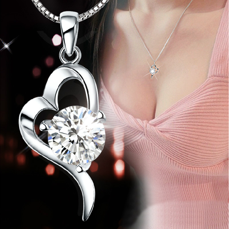 Top quality Silver Platinum Plated Romantic Love Heart Crystal Necklace Pendant beautiful wedding jewelry (not match chain)