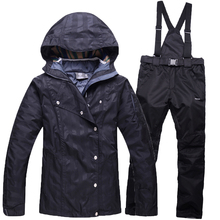 Thickening sportswear women ski suit waterproof windproof winter warm ski suit jacket + ski pants with high quality for lady