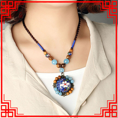 Original Luxury ethnic   cloisonne necklace ,lingt blue chalcedony jewelry ,new handmade exaggerate rosewood vintage necklace