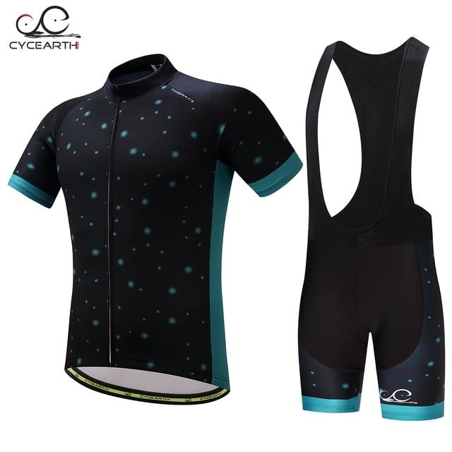 CYCEARTH 2017 Men Cycling set Bicycle MTB Cycling Clothes Quick Dry Road Bike Racing Cycling Jersey Bib Shorts Gel Pad CE041