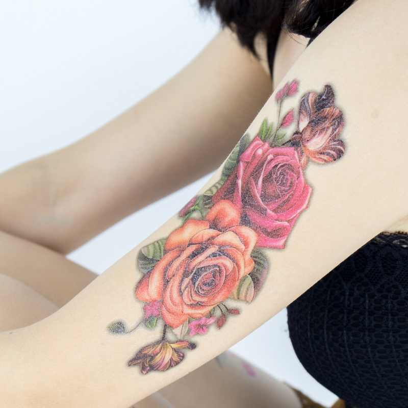 e3e5dc8b6 ... Hot Indian Arabic Fake Temporary Tattoos Stickers 3D Rose Flowers Arm  Shoulder Thigh Tattoo Waterproof For