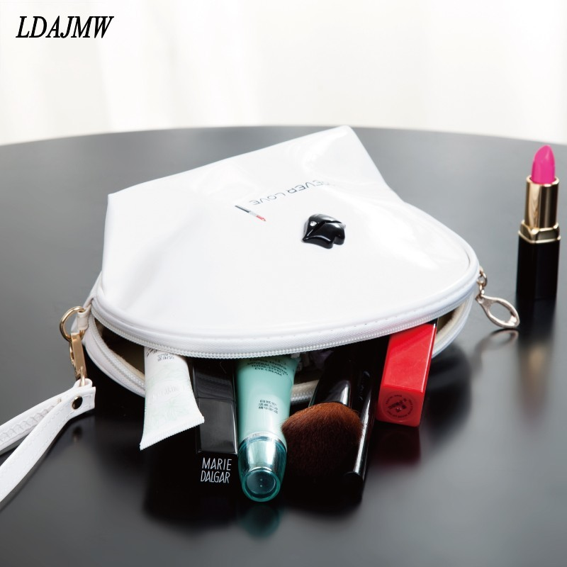 LDAJMW Mini Portable Trumpet Shell Quality PU leather Zipper Pillow Shaped Brand Cosmetic Storage Bag MakeUp Toiletry Organizers