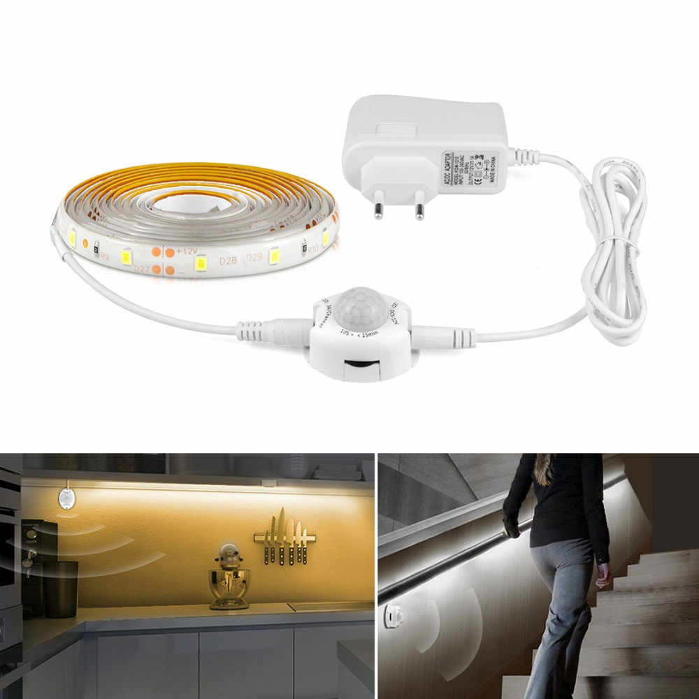 1-10 M Kabinet Lampu LED Gerak Diaktifkan Muda 5V PIR MOTION SENSOR LED Strip SMD 2835 lemari Pakaian Lampu Tape PC TV Backlight