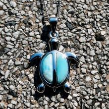 цена DJ CH Blue Larimar Natural Stone Gemstone Sea Turtle Charm Pendant 925 Sterling Silver Fine Jewelry Pendant for Woman/Man онлайн в 2017 году