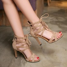 Rome Cross Strap Sandals Women Summer 2016 High-Heeled Shoes Genuine Leather Sexy Peep Toe Sheepskin Pumps
