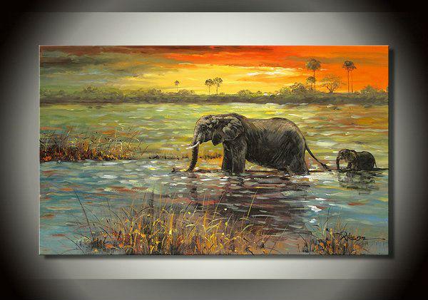 Livraison gratuite l 39 l phant d 39 afrique riverside for Peinture sur toile