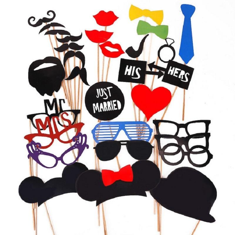 31pcs/Set Vintage Wedding Supplies Photo Props Funny Paper Hat Lip Glasses Mustache Tie New Arrive Wedding Party Photography