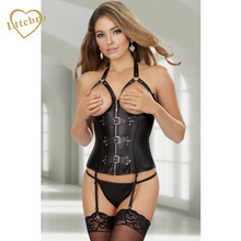 Sexy Faux Leather Steampunk 10 Spiral Steel Boned Zip Lace-Up Corset Party Dress Strapy Waist Shaper Black Lingerie Corset Thong