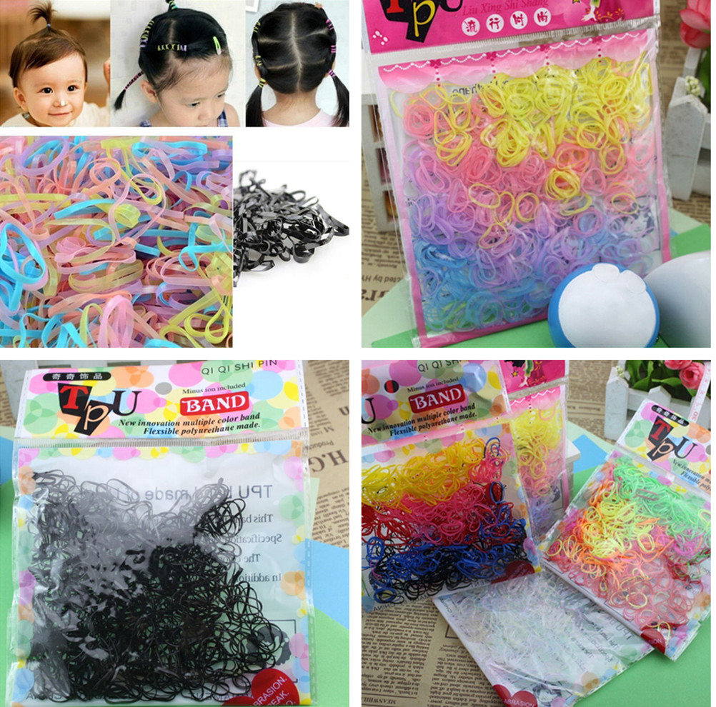 400pcs/lot Rubber Rope Ponytail Hair Holders Rubber Bands Ties Braids Office Rubber Ring Rubber Bands School Office Supplies