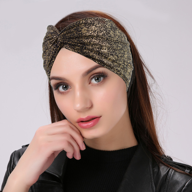 Geebro Women Metallic Color Dot Elastic Headbands Fashion Cross Knotted  Turban Knit Headband Ladies Wide Hairband dd75527939d