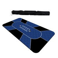Poker Mat Table Cloth Rubber Gaming Blue 1.8*0.9m