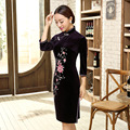 Traditional Chinese Clothing Party Dresses China Qipao Wedding Velvet Cheongsam Sexy Beautiful Prom Silk Dress SMYQP-G0087