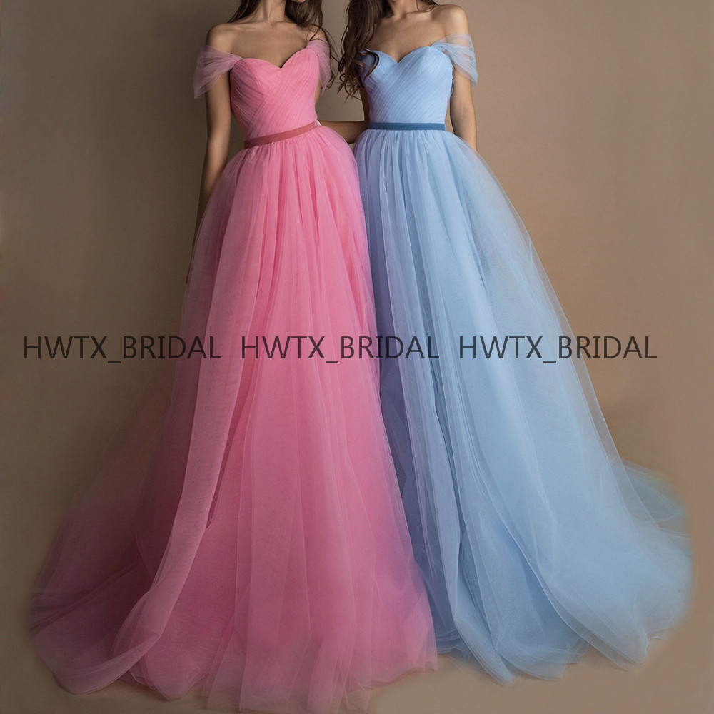 Elegant Off The Shoulder   Evening     Dress   2019 Long A Line Pink Blue Tulle Formal   Evening   Gowns Vestidos de fiesta de noche Custom